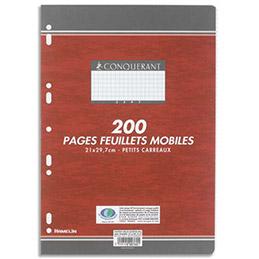 Copies doubles perforées Conquérant 7 - blanches - 21x29.7 cm - 200 pages - petits carreaux - 70g - Sous étuis (photo)