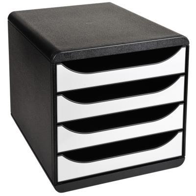 Module de classement Exacompta Big Box glossy 4 tiroirs - A4+ - noir - façades blanches