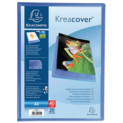 Porte-vue Exacompta Kreacover A4 20 pochettes couverture personnalisable semi-rigide - polypropylène recyclé - bleu
