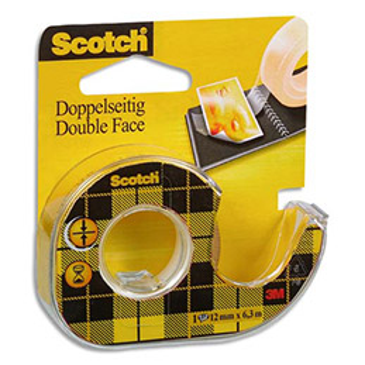 Ruban adhésif double-face transparent Scotch 136 - 12 mm x 6 m - sur devidoir