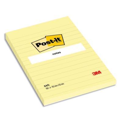 Bloc Notes grand format Post'it - 102 x 52 mm - ligné - jaune (photo)
