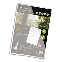 Pochettes coins Seco - polypropylène 12/100e grainé - biodégradable - transparent - boîtede 25