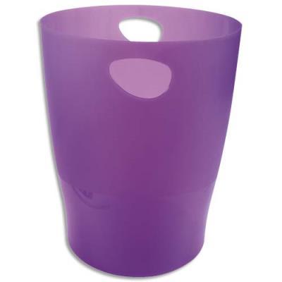Corbeille à papier Exacompta Eco - 15 L - diamètre 26 cm, hauteur 33,5 cm - violet translucide (photo)