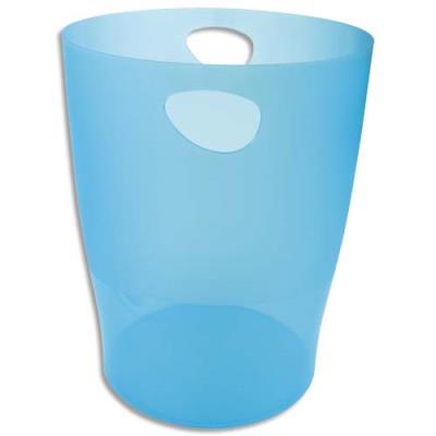 Corbeille à papier Exacompta Eco - 15 L - diamètre 26 cm, hauteur 33,5 cm - turquoise translucide (photo)