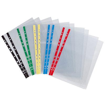 Pochette perforée lisse - A4 - polypropylène 90 microns - 11 trous - transparente avec bandes de couleur - sac 10 unités (photo)