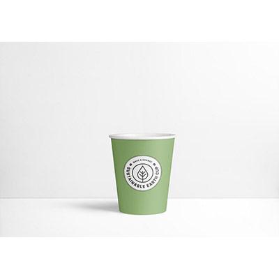 Gobelets en carton biodégradables et jetables - 250 ml - vert avec logo imprimé - paquet 80 unités (photo)