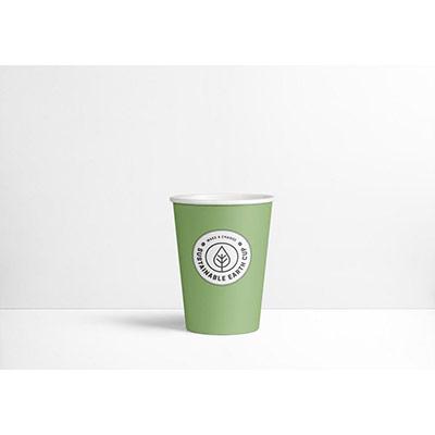 Gobelets en carton biodégradables et jetables - 300 ml - vert avec logo imprimé - paquet 75 unités (photo)