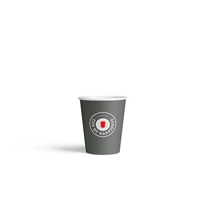 Gobelets en carton jetables - 200 ml - gris foncé avec logo imprimé - paquet 100 unités (photo)