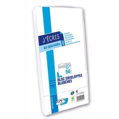 Enveloppes 110 x 220 GPV -  blanches - fenêtre 45 x 100 - auto-adhésives - 75 g - paquet de 50 (photo)