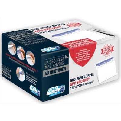 Enveloppes GPV Secure - format C5 162 x 229 mm - auto-adhésives - 90g - boîte de  500