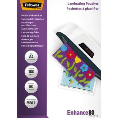 Pochettes Fellowes - A4 -80 microns - mat - boîte de 100