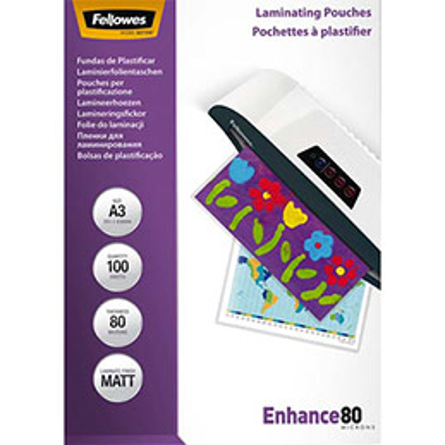 Pochettes Fellowes - A3 - 80 microns Mat - boîte de 100