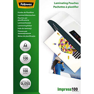 Pochettes Fellowes - A4 - 100 microns - boîte de 100