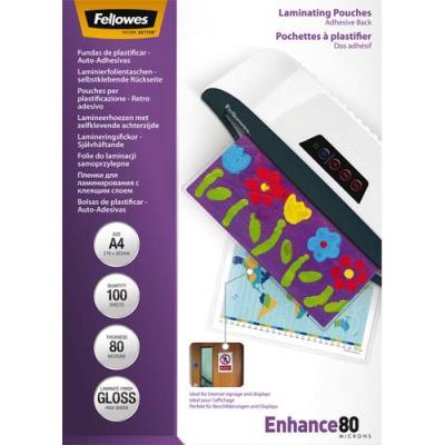 Pochettes Fellowes - A4 - 80 microns - dos adhésif - boîte de 100