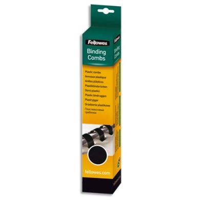 Boîte de 100 peignes en plastique Fellowes - 19 mm - noir (photo)