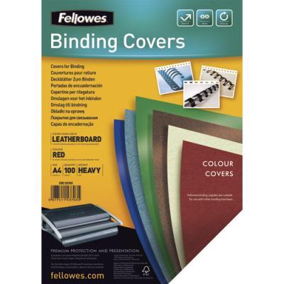 Plats de couvertures chromolux Fellowes - A4 - en carton effet grain cuir - 250g/m2 - boîte de 100 - rouge