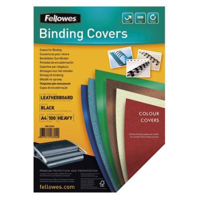 Plats de couvertures chromolux Fellowes - A4 - en carton effet grain cuir - 250g/m2 - boîte de 100 - noir