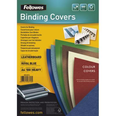 Plats de couvertures chromolux Fellowes - A4 - en carton effet grain cuir - 250g/m2 - boîte de 100 - bleu royal