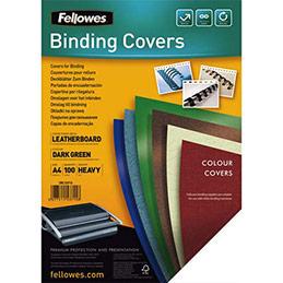 Plats de couvertures chromolux Fellowes - A4 - en carton effet grain cuir - 250g/m2 - boîte de 100 - vert foncé