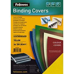 Plats de couvertures chromolux Fellowes - A4 - en carton effet grain cuir - 250g/m2 - boîte de 100 - jaune