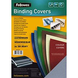 Plats de couvertures chromolux Fellowes - A4 - en carton effet grain cuir - 250g/m2 - boîte de 100 - bleu clair