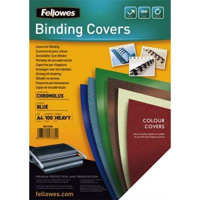 Plats de couvertures chromolux Fellowes - A4 - en carton brillant - 250g/m2 - boîte de 100 - bleu