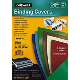 Plats de couvertures chromolux Fellowes - A4 - en carton brillant - 250g/m2 - boîte de 100 - vert