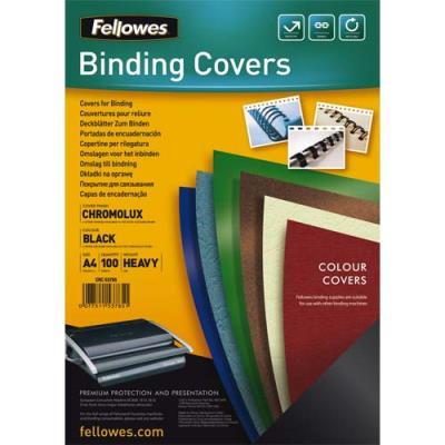 Plats de couvertures chromolux Fellowes - A4 - en carton brillant - 250g/m2 - boîte de 100 - noir