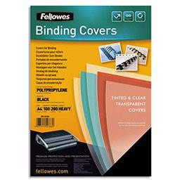 Plats de couvertures Futura Fellowes - A4 - polypropylène - 280 microns - boîte de 100 - noir