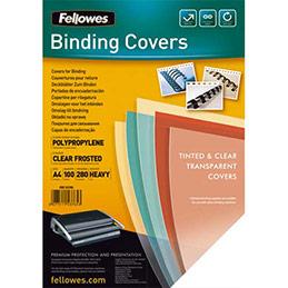 Plats de couvertures Fellowes A4 - polypropylène - 280 microns - boîte de 100 - transparent