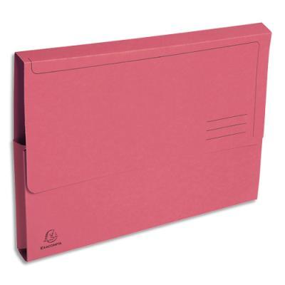 Boite de 50 chemises à poche en carte Rock's en carte 280 g - 24 x 32 cm - dos 3 cm - rose vif (photo)