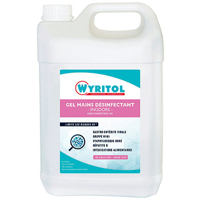 Gel lavant désinfectant pour les mains Wyritol - conforme norme Bactéricide NF EN 1276 - bidon de 5L