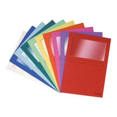 Paquet de 25 pochettes coins Exacompta en carte 120 g avec fenêtre - coloris assortis vifs