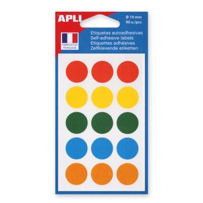 Pastilles adhésives de couleur Agipa - Ø 19 mm - pochette de 90 - coloris assortis - blister de 90