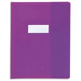 Protège-cahier Calligraphe PVC opaque grain cuir - 20/100ème avec porte-étiquette - 17x22 - violet (photo)