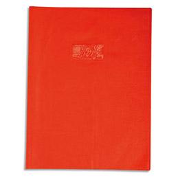 Protège-cahier Calligraphe PVC opaque grain cuir - 20/100ème avec porte-étiquette - 21 x 29,7 - orange (photo)