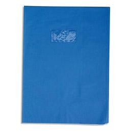 Protège-cahier Calligraphe PVC opaque grain cuir - 20/100ème avec porte-étiquette - 24x32 - bleu (photo)