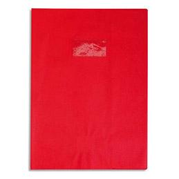Protège-cahier Calligraphe PVC opaque grain cuir - 20/100ème avec porte-étiquette - 24x32 - rouge (photo)