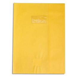 Protège-cahier Calligraphe PVC opaque grain cuir - 20/100ème avec porte-étiquette - 24x32 - jaune (photo)