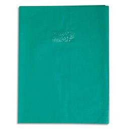 Protège-cahier Calligraphe PVC opaque grain cuir - 20/100ème avec porte-étiquette - 24x32 - vert (photo)