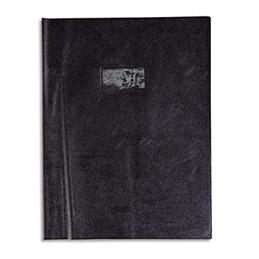Protège-cahier Calligraphe PVC opaque grain cuir - 20/100ème avec porte-étiquette - 24x32 - noir (photo)