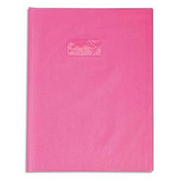 Protège-cahier Calligraphe PVC opaque grain cuir - 20/100ème avec porte-étiquette - 24x32 - rose (photo)