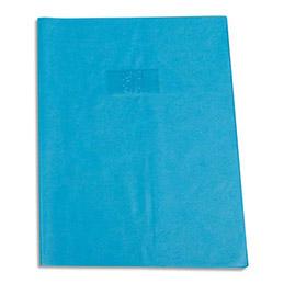 Protège-cahier Calligraphe PVC opaque grain cuir - 20/100ème avec porte-étiquette - 24x32 - bleu clair (photo)
