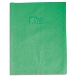 Protège-cahier Calligraphe PVC opaque grain cuir - 20/100ème avec porte-étiquette - 24x32 - vert clair (photo)