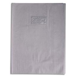 Protège-cahier Calligraphe PVC opaque grain cuir - 20/100ème avec porte-étiquette - 24x32 - gris (photo)