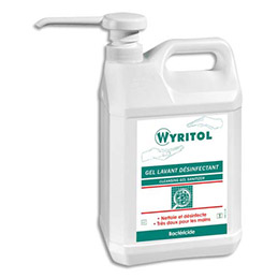 Gel lavant désinfectant pour les mains Wyritol - conforme norme Bactéricide NF EN 1276 - bidon de 5L (photo)