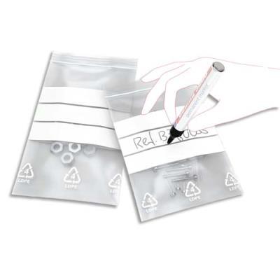 Boîte de 1000 sachets transparents avec bandes blanches de marquage - 12 x 18 cm - fermeture rapide - épaisseur 50 microns (photo)