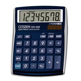 Calculatrice de bureau Citizen CDC80 bleu (photo)