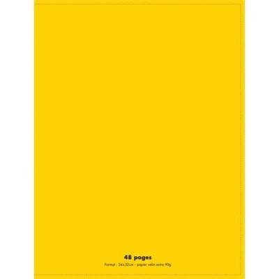 Cahier éco - piqué - couverture polypro - 48 pages - 24 x 32 cm - 90g - grands carreaux - jaune (photo)