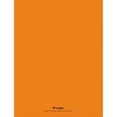 Cahier éco - piqué - couverture polypro - 48 pages - 24 x 32 cm - 90g - grands carreaux - orange (photo)